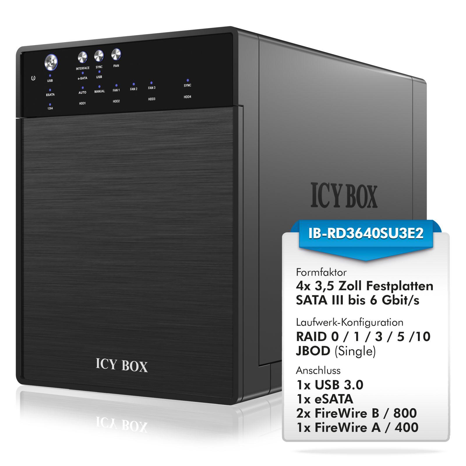 ICY-BOX IB-RD3640SU3E2 RAID Gehäuse f. 4x 3,5\
